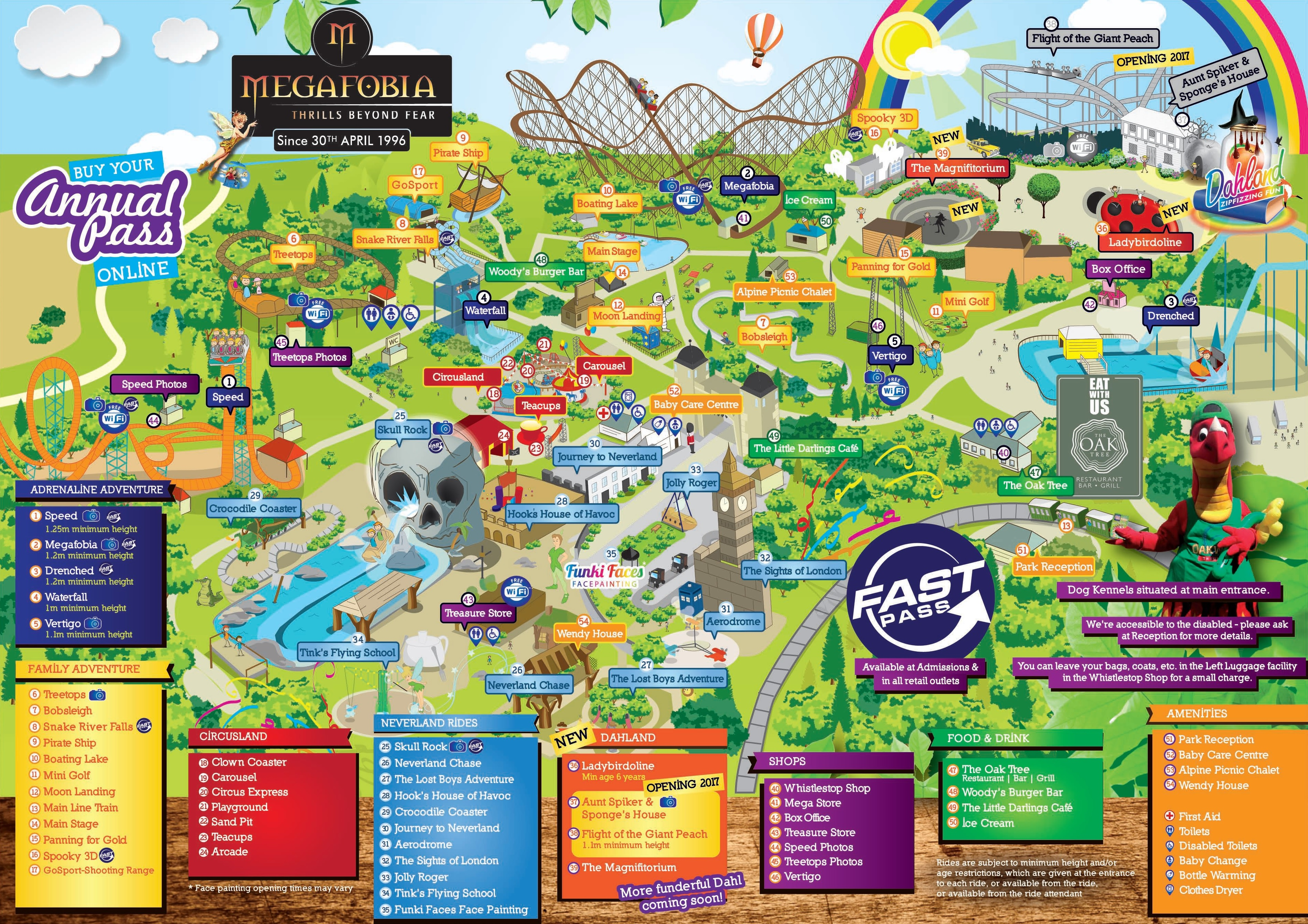 Oakwood Theme Park Map